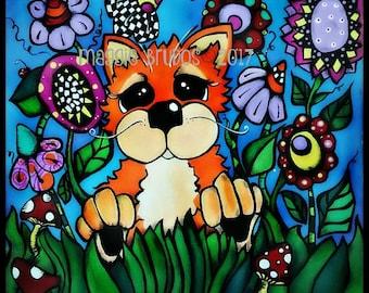 whimsical orange cat  garden lady bug mushrooms garden polka dot garden art pet love 12x12 maggie brudos painting Original whimsical CAT art