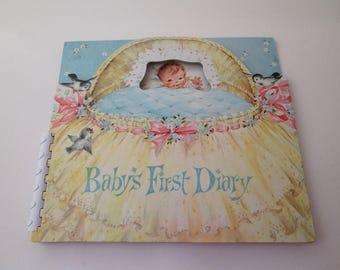 Vintage Baby Scrapbook, Baby Memory Book, Baby Book, babys first diary, baby shower gift, baby keepsake book, child album, nursery decor