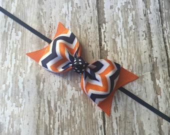 Auburn Inspired Headband Auburn Inspired Baby Headband Navy and Orange Headband Tuxedo Bow Skinny Elastic Headband Toddler Hair Bow Bowband