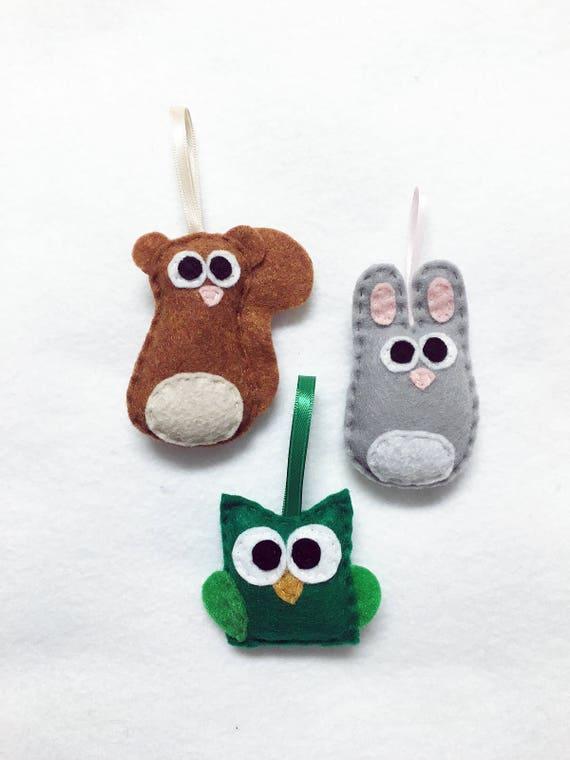 Baby Animal Ornaments, Squirrel, Owl, Rabbit - Set of Three Ornaments, Birthday Favors, Rustic Decoration, Christmas Ornament