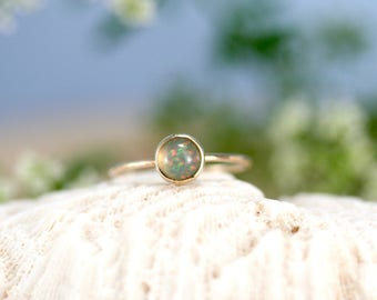 Opal ring, solid gold ring with ethiopian opal, stacking opal ring, Rachel Wilder