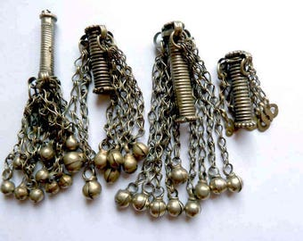 Mixed Lot Old Tube Tassel Turkoman Beads from Afghanistan, Vintage Ethnic Tassel Beads, Turkoman Spacer Beads, Vintage Ethnic Tube Pendant