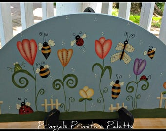 Summer Bees Ladybug Flower Wood Door Crown Home Decor