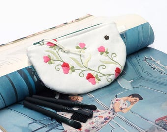 Small Cosmetic Bag - Embroidered Pouch - half moon pouch - vintage linen purse - small makeup bag for purse Handmade by EllaOsix