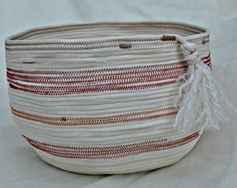Coiled Cotton Rope Basket handmade / one of a kind / red and orange stripes/ unique storage/ garden basket