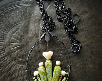 Flowers, Wire Wrapped, Hoops, Blossom Series, Cactus, Garden, Artisan Made, Glass, Organic, Rustic, Unique, Beaded Necklace