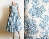 RESERVED Vintage 1950s Dress - Horrockses Toile Print Style Cotton Full Circle Skirt Cotton Dress - 50s Sky Blue White Picnic Lovers Small