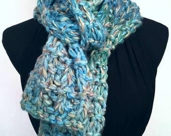 Soft Blue Knit Warm Scarf