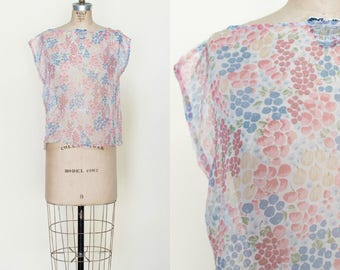 1970s Sheer Floral Blouse --- Vintage Pink Top
