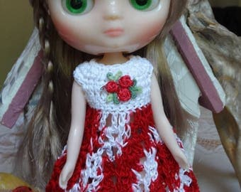 Crochet Dress Flared Skirt for 8 inch 20cm Blythe Middie doll Bright Red White Rose Applique