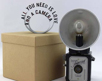 All You Need is Love and a Camera - Film Reel Gift Packaging Bow - Pop Up Letters Word Loop - Repurposed from Movie Film Strips - Photograph