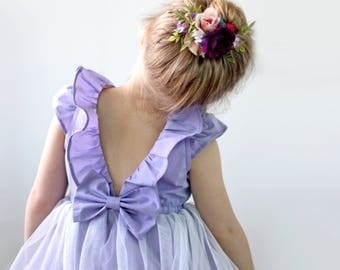 RESERVED for ALEXANDRA flower girl dress in ALL white cotton and soft tulle, size 2T (photo is for style reference only)