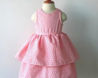Pink Dress, Eyelet Dress, Girls Dress, Toddler Dress, Flower Girl Dress, Cotton Dress, Scoop Neck Dress, Easter Dress, Toddler Flower Girl
