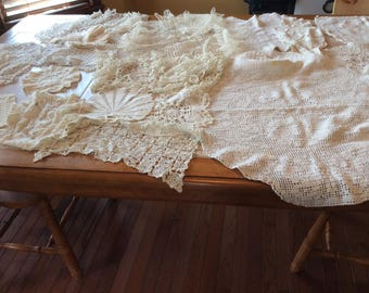 Crochet Doilies Runners  Vintage Linen Lot Value Bundle of 25 Assorted Sizes and Styles All in White and Off White - B116