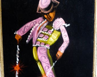 Vintage Framed Pink Matador On Black Velvet Painting By Garcia House Of Oppenheim Mexico