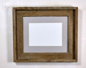 "5"" x 7"" gray mat in 8x10 frame from rustic reclaimed wood complete with glass,mat,backing and hardware free shipping"