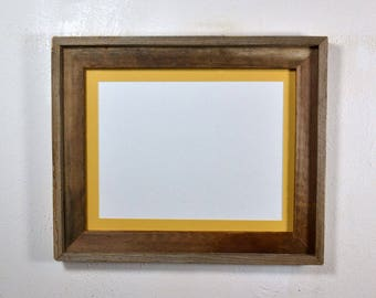 """Rustic style picture frame with 9"""" x 12"""" yellow mat complete ready to ship 20 mat colors available"""
