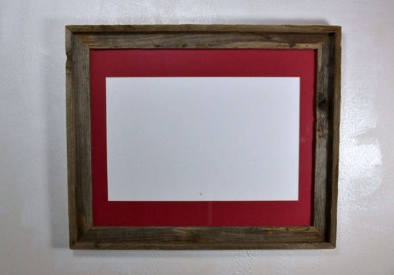Poster Frame Reclaimed Wood 11 Quot X17 Quot Red Mat 20 Mat Colors