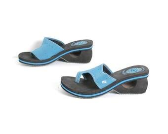 size 8 PLATFORM turquiose 80s 90s BEACH wedge slip on FOAM sandals