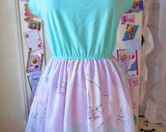 Unicorn dress, lavender rainbow 80s fairy kei sweet lolita size large L vaporwave
