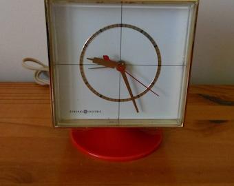 Vintage 60s GE Red Pedestal Clock, 1960s General Electric Plastic Alarm Clock, Model 7343,  Works Great