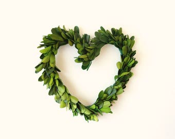 Boxwood heart wreath, Natural home decor, Preserved boxwood, Mini boxwood Leaf wall hanging, Wedding decoration, preserved greenery
