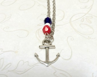 Silver anchor necklace, red white and blue, nautical charm, nautical jewelry, made in USA, summer jewelry