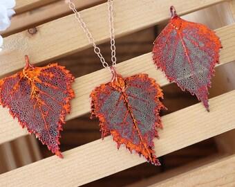 Copper Birch Leaf Necklace, Real Leaf Necklace, Birch Leaf, Rose Gold Leaf Necklace, Long Leaf, Leaf Pendant LC197