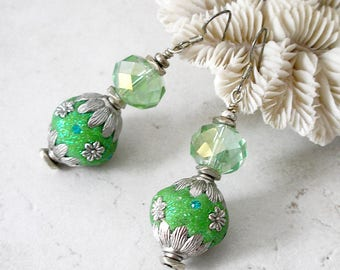 Chunky Green Crystal Earrings Bollywood Silver Stocking Stuffer Bling For Her