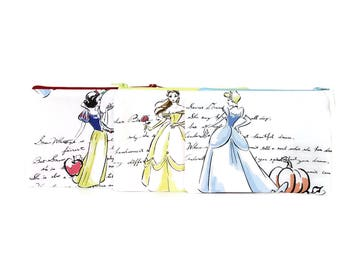 CHOOSE SIZE Disney Princess Zipper Pouch / Belle Cinderella Snow White Camera Bag on Cream /  Make Up or Coin Pouch
