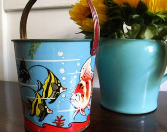 Vintage Sand Pail Tin Litho Fish US Metal Toy Underwater Sea Life Bucket