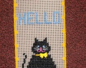 Black Cat Glow in the Dark  HELLO  Door Hanger