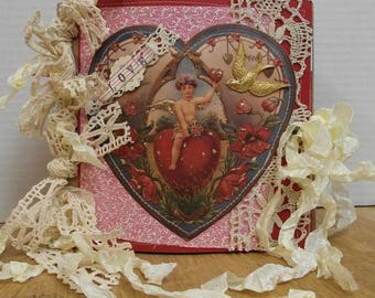 Valentines Day Prim Vintage Sewn Paper Bag Album Junk Journal 6 x 6  lace