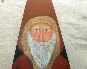 Vintage Wood Ironing Board Santa Hand Painted Primitive Folk Art Santa Christmas Decor