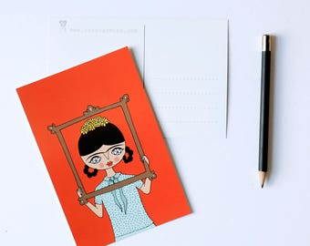 Frida in Frame - set of 4 postcards - 4 x 6 - Frida Kahlo