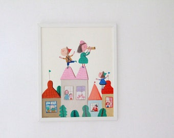 roof party   Original Illustration with frame