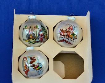 Vintage Shiny Brite Santa Claus Holiday Ornaments - Glass Ball Ornaments Cello Wrapped Poloron - Set of 3 - Original Box - Christmas Decor