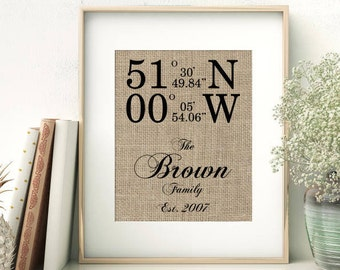 Our Family Home | GPS Coordinates Personalized Burlap Print | Latitude Longitude Location Print | Housewarming New Home House Warming Gift