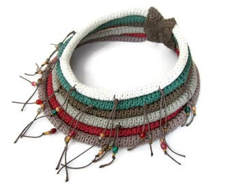 Crochet tribal necklace, ethnic tribal African inspired collar, boho style necklace, fringe crochet collar, Native inspired fiber necklace