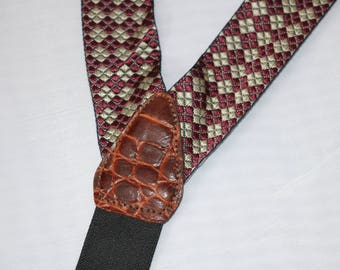 Gorgeous Mens Button Suspenders - Burgundy Black Diamond Woven Braces - Y BACK - Brown Croc Leather Paddles- Adjustable Gold Metal Clinchers