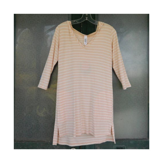 SALE - Yala Hoodie Coverup Tunic Pale Pink Stripe Bamboo-Spandex NWT