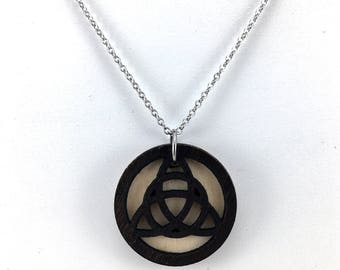 Celtic Knot Necklace, Essential Oil Jewelry, Triad Knot Pendant, Aromatherapy Pendant, Laser Cut Jewelry, Wood Celtic Pendant, Gift for Her