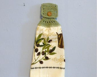 Hanging Kitchen Towel Olive Branch  Doubled Towel