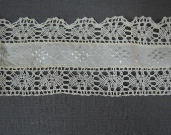 2-1/8 yards Antique Lace Trim with Ribbon center, 2-1/4 inches wide Vintage White Lace