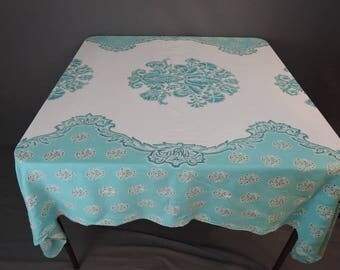 Vintage 1950s Turquoise and Gold Print Tablecloth, 57 x 51 inches