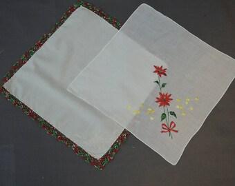 2 Vintage Christmas Hankies Crochet & Embroidered Poinsettias 1950s