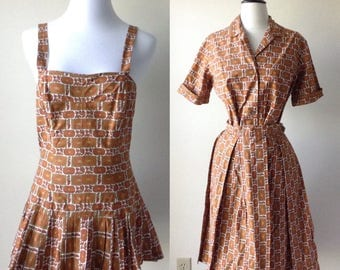 vintage 50s swimsuit / 1950s bathing suit / blouse top and skirt / skirted swimsuit / playsuit, romper, swimsuit