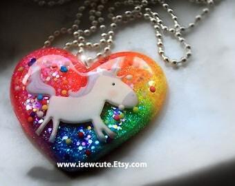 Unicorn Birthday Party Girl Necklace by isewcute, Unicorn Believer Jewelry, Rainbow Unicorn Necklace, Rainbow Heart Sparkly Glitter Pendant