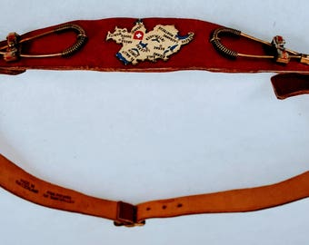 Women's Vintage Belt - Red Leather Swiss with  Metal Embellishments- Map of Switzerland Embellished - Picard of Sun Valley