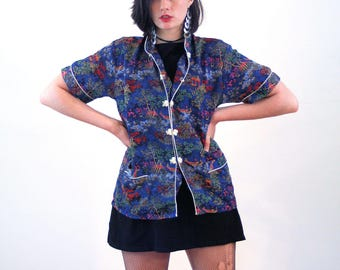 Chao, 80s Asian Top L, Blue Asian Blouse, Cantonese Jacquard Blouse, Blue Cheongsam Top, Chinese Pajama Top, Vintage Chinese Blouse, Large